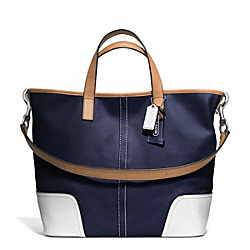 HADLEY LEATHER DUFFLE - f27728 - SILVER/MIDNIGHT