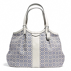 SIGNATURE STRIPE JACQUARD SHOULDER BAG - f27734 - 30390