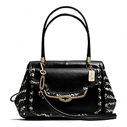 MADISON TWO-TONE PYTHON EMBOSSED MADELINE EAST/WEST SATCHEL - f27841 - LIGHT GOLD/BLACK