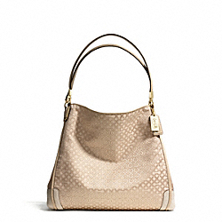 COACH MADISON OP ART PEARLESCENT FABRIC SMALL PHOEBE SHOULDER BAG - LIGHT GOLD/KHAKI - F27843