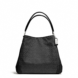 COACH MADISON OP ART PEARLESCENT FABRIC SMALL PHOEBE SHOULDER BAG - SILVER/BLACK - F27843