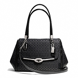 COACH MADISON OP ART PEARLESCENT SMALL MADELINE EAST/WEST SATCHEL - SILVER/BLACK - F27848