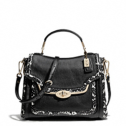 COACH MADISON TWO-TONE PYTHON EMBOSSED SMALL SADIE FLAP SATCHEL - LIGHT GOLD/BLACK - F27849