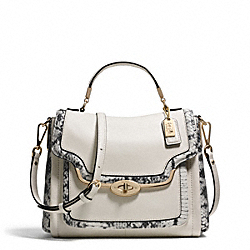 COACH MADISON TWO-TONE PYTHON EMBOSSED SMALL SADIE FLAP SATCHEL - LIGHT GOLD/PARCHMENT - F27849