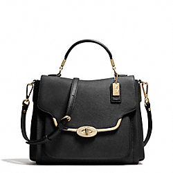 COACH MADISON SAFFIANO LEATHER SMALL SADIE FLAP SATCHEL - LIGHT GOLD/BLACK - F27850