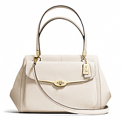 MADISON SAFFIANO LEATHER MADELINE EAST/WEST SATCHEL - f27854 - LIGHT GOLD/PARCHMENT