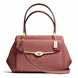COACH MADISON SAFFIANO LEATHER MADELINE EAST/WEST SATCHEL - LIGHT GOLD/ROUGE - F27854