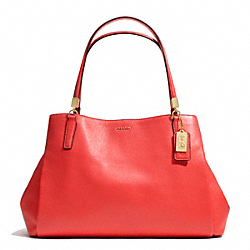 COACH MADISON LEATHER  CAFE CARRYALL - LIGHT GOLD/LOVE RED - F27859