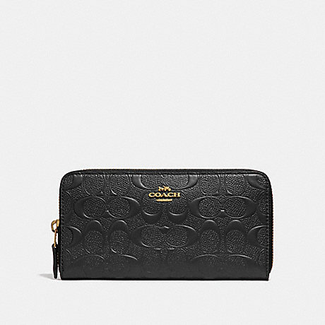 COACH ACCORDION ZIP WALLET IN SIGNATURE LEATHER - BLACK/LIGHT GOLD - F27865