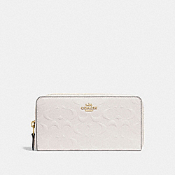 COACH ACCORDION ZIP WALLET IN SIGNATURE LEATHER - CHALK/LIGHT GOLD - F27865