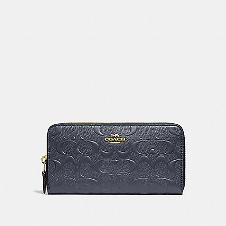 COACH ACCORDION ZIP WALLET IN SIGNATURE LEATHER - MIDNIGHT/LIGHT GOLD - f27865