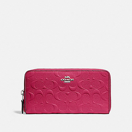 COACH ACCORDION ZIP WALLET IN SIGNATURE LEATHER - SILVER/HOT PINK - f27865