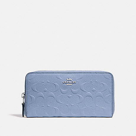 COACH ACCORDION ZIP WALLET IN SIGNATURE LEATHER - SILVER/POOL - f27865