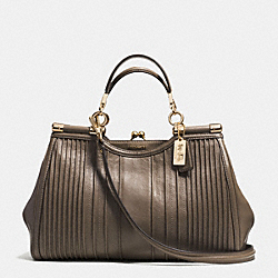COACH MADISON PINTUCK LEATHER CARRIE SATCHEL - LIGHT GOLD/SILT - F27882