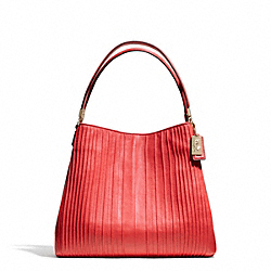 COACH MADISON PINTUCK LEATHER SMALL PHOEBE SHOULDER BAG - LIGHT GOLD/LOVE RED - F27885