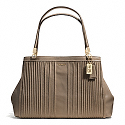 COACH MADISON PINTUCK LEATHER CAFE CARRYALL - LIGHT GOLD/SILT - F27889
