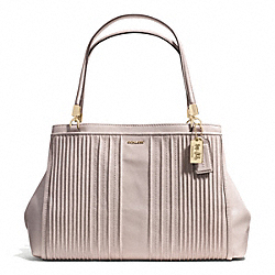 COACH MADISON PINTUCK LEATHER CAFE CARRYALL - LIGHT GOLD/GREY BIRCH - F27889