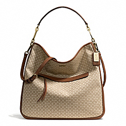 COACH MADISON NEEDLEPOINT OP ART FABRIC HOBO - LIGHT GOLD/KHAKI/CHESTNUT - F27904