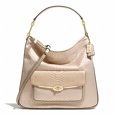 COACH MADISON HOBO IN OP ART PEARLESCENT FABRIC -  LIGHT GOLD/PEACH ROSE - f27906