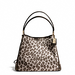 MADISON OCELOT JACQUARD SMALL PHOEBE SHOULDER BAG - f27908 - LIGHT GOLD/CHESTNUT