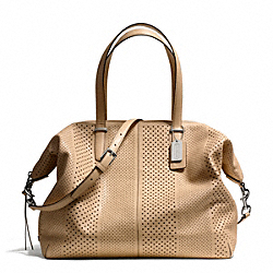 COACH BLEECKER PERFORATED LARGE COOPER SATCHEL - SILVER/TAN - F27911