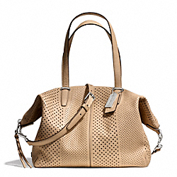 COACH BLEECKER STRIPED PERFORATED LEATHER COOPER SATCHEL - SILVER/TAN - F27913