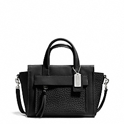 COACH BLEECKER LEATHER MINI RILEY CARRYALL - SILVER/BLACK - F27923