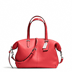COACH BLEECKER PEBBLED LEATHER SMALL COOPER SATCHEL - SILVER/LOVE RED - F27926