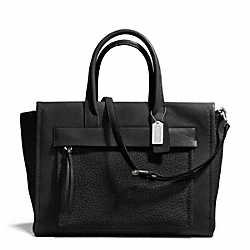COACH BLEECKER LEATHER POCKET CARRYALL - SILVER/BLACK - F27927
