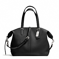 COACH BLEECKER PEBBLED LEATHER COOPER SATCHEL - SILVER/BLACK - F27930