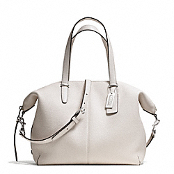 COACH BLEECKER PEBBLED LEATHER COOPER SATCHEL - SILVER/PARCHMENT - F27930