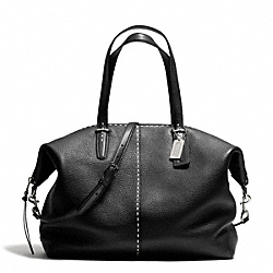 COACH BLEECKER STITCHED PEBBLED LEATHER LARGE COOPER SATCHEL - SILVER/BLACK - F27948