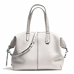 COACH BLEECKER STITCHED PEBBLED LEATHER LARGE COOPER SATCHEL - SILVER/PARCHMENT - F27948
