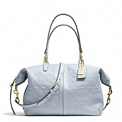COACH BLEECKER EMBOSSED LOGO LEATHER COOPER SATCHEL - GOLD/POWDER BLUE - F27957