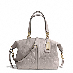 COACH BLEECKER EMBOSSED LOGO LEATHER SMALL COOPER SATCHEL - GOLD/GREY BIRCH - F27963