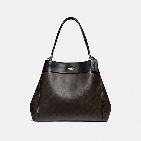 COACH LEXY SHOULDER BAG IN SIGNATURE CANVAS - BROWN/BLACK/LIGHT GOLD - F27972