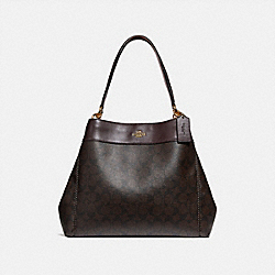 LEXY SHOULDER BAG IN SIGNATURE CANVAS - BROWN/OXBLOOD/IMITATION GOLD - COACH F27972