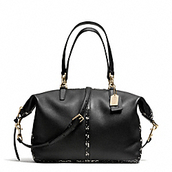 COACH BLEECKER TWO TONE PYTHON EMBOSSED LEATHER COOPER SATCHEL - GOLD/BLACK - F27984