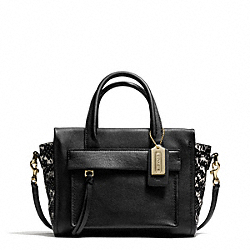 COACH BLEECKER TWO-TONE PYTHON EMBOSSED LEATHER MINI RILEY CARRYALL - GOLD/BLACK - F27987