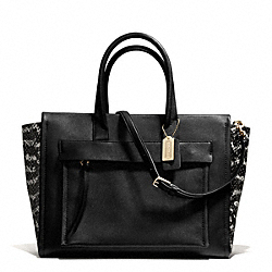 COACH BLEECKER TWO TONE PYTHON EMBOSSED LEATHER RILEY CARRYALL - GOLD/BLACK - F27988