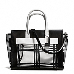 COACH BLEECKER PLAID PAINTED LEATHER LARGE RILEY CARRYALL - SILVER/BLACK MULTI - F27992