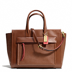 COACH BLEECKER LARGE RILEY CARRYALL IN TWO TONE LEATHER - BRASS/CHESTNUT/LOVE RED - F28041
