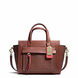 COACH BLEECKER TWO TONE LEATHER MINI RILEY CARRYALL - BRASS/CHESTNUT/LOVE RED - F28042
