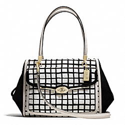 COACH MADISON GRAPHIC PRINT MADELINE EAST/WEST SATCHEL - LIGHT GOLD/WHITE - F28082