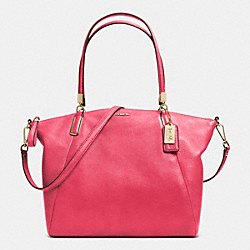 COACH MADISON LEATHER KELSEY SATCHEL - LIGHT GOLD/PINK SCARLET - F28090