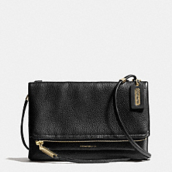 COACH THE URBANE CROSSBODY BAG  IN PEBBLED LEATHER - LIGHT GOLD/BLACK - F28121