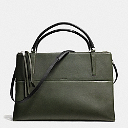 COACH THE LARGE PEBBLED LEATHER BOROUGH BAG - SILVER/ALPINE MOSS - F28129