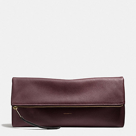 COACH THE LARGE PEBBLED LEATHER CLUTCHABLE - LIGHT GOLD/OXBLOOD - f28148