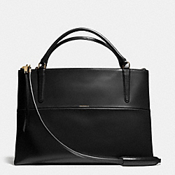 COACH THE LARGE BOROUGH BAG IN POLISHED CALFSKIN - LIGHT GOLD/BLACK - F28156