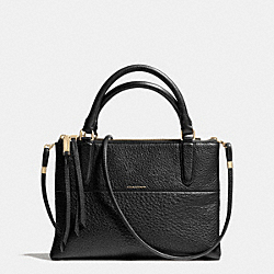 COACH THE MINI BOROUGH BAG IN PEBBLE LEATHER - LIGHT GOLD/BLACK - F28163